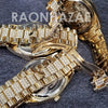 Raonhazae Hip Hop Iced Lab Diamond Red Face Drake 14K Gold Plated Watch with Miami Cuban Chain Set - GTX001 - Raonhazae