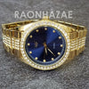 Raonhazae Hip Hop Iced Lab Diamond 14K Gold Plated Blue Face Watch with Stone - Raonhazae