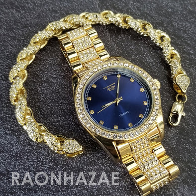 Raonhazae Hip Hop Iced Lab Diamond Blue Face Drake 14K Gold Plated Watch with Rope Bracelet Set - GTR001 - Raonhazae