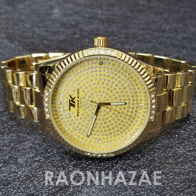 Raonhazae Hip Hop Iced Lab Diamond Gold Face Drake 14K Gold Plated Watch with Rope Bracelet Set - GTR001 - Raonhazae