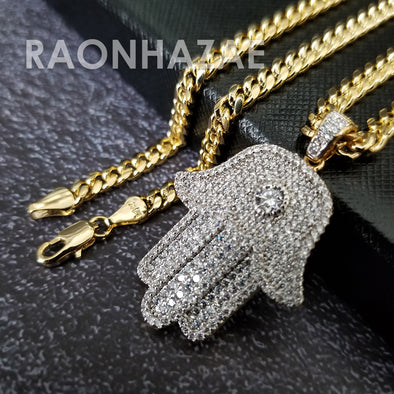 Hip Hop Blinged Out Hands of Hamsa Pendant w/ 5mm Miami Cuban Chain - Raonhazae