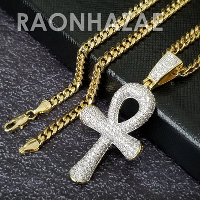 Hip Hop Blinged Out Ankh Cross Pendant w/ 5mm Miami Cuban Chain - Raonhazae