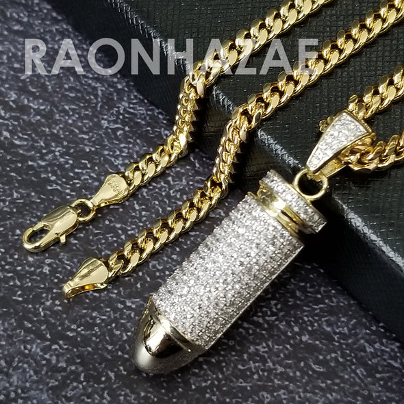 Hip Hop Blinged Out Bullet Pendant w/ 5mm Miami Cuban Chain - Raonhazae