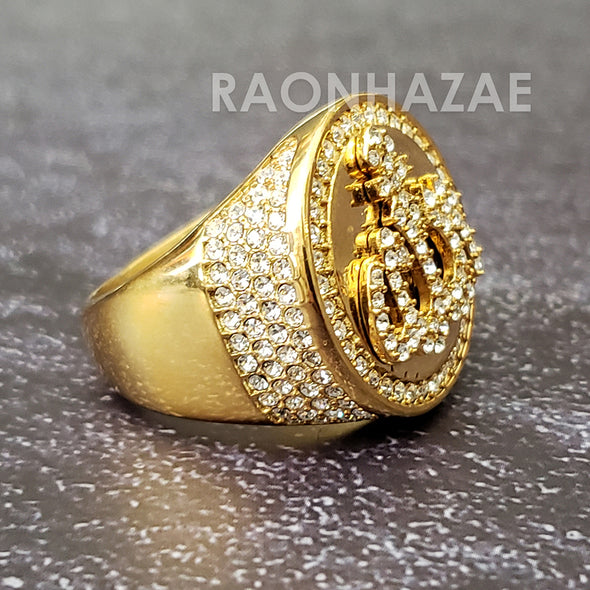 MEN Iced RING 316L STAINLESS STEEL ALLAH GOLD / SILVER TONE CZ BLING RING - Raonhazae