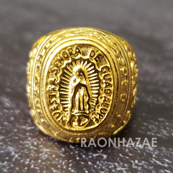 MEN Iced RING 316L STAINLESS STEEL THE LAST SUPPER Guadalupe GOLD / SILVER TONE CZ BLING RING - Raonhazae