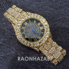 Raonhazae Hip Hop Iced Lab Diamond 14K Gold Plated Black Face Watch with Stone - Raonhazae