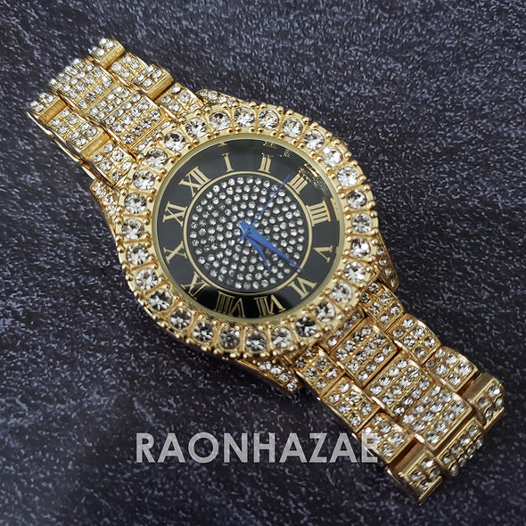 Raonhazae Hip Hop Iced Lab Diamond Drake 14K Gold Plated Watch with 12mm Cuban Link Bracelet Set - Raonhazae
