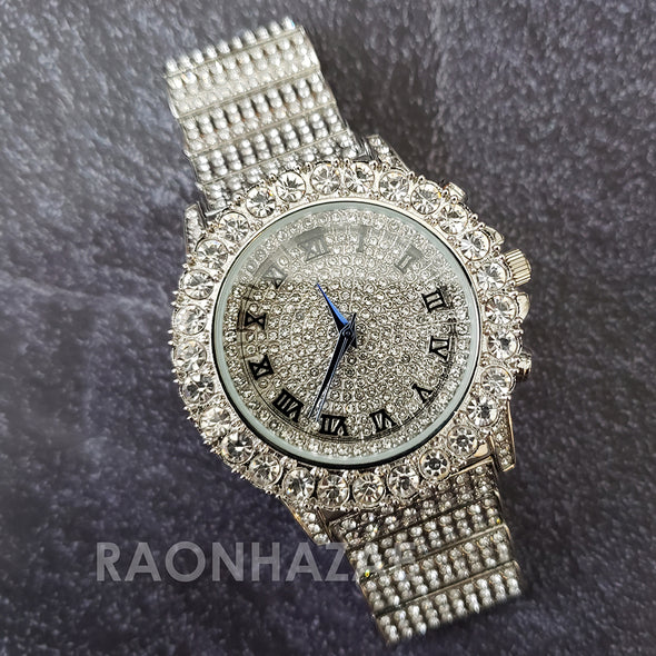 Silver Raonhazae Hip Hop Iced Lab Diamond OVIO DRAKE 14K White Gold Plated Watch with 12mm Cuban Link Bracelet Set - Raonhazae