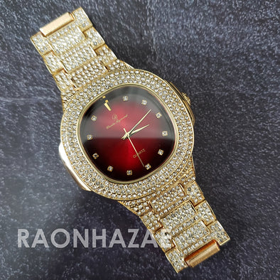 Raonhazae Hip Hop Iced Lab Diamond Drizzy Drake Red Face 14K Gold Plated Watch with 12mm Cuban Link Bracelet Set - Raonhazae
