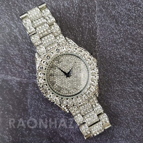 Raonhazae Silver Hip Hop Iced Lab Diamond Drizzy Drake 14K White Gold Plated Watch with 12mm Cuban Link Bracelet Set - Raonhazae