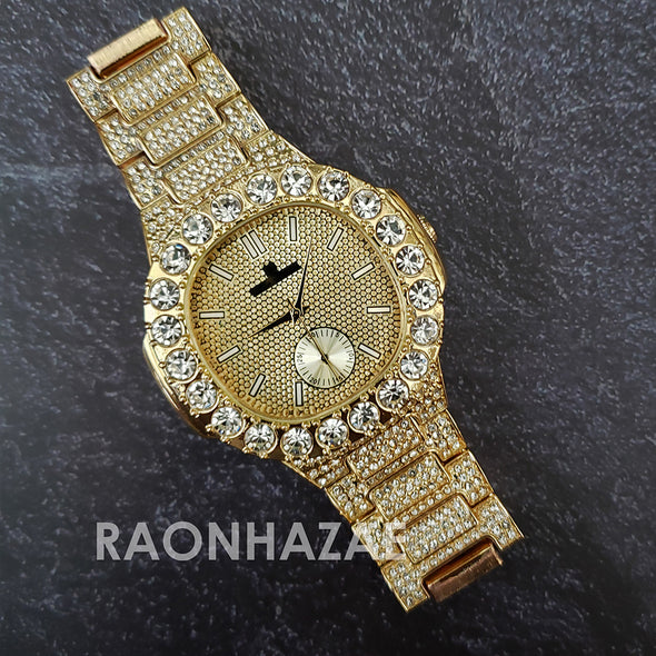Raonhazae Hip Hop Iced Lab Diamond Meek Mill Drake 14K Gold Plated Watch with 12mm Cuban Link Bracelet Set - Raonhazae