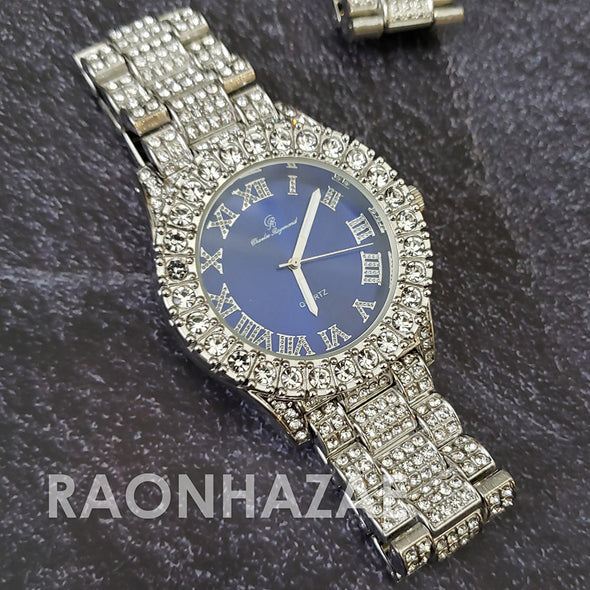 Raonhazae Silver Hip Hop Iced Lab Diamond Meek Mill Drake Blue Face 14K White Gold Plated Watch with 12mm Cuban Link Bracelet Set - Raonhazae