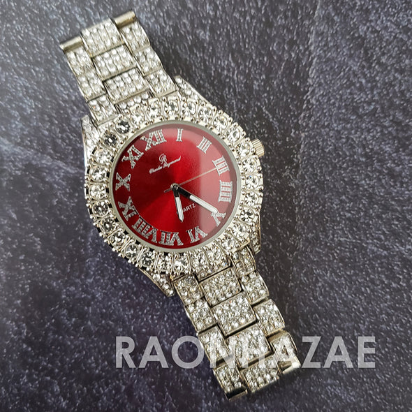 Raonhazae Hip Hop FULLY Iced Lab Diamond 14K White Gold Plated Watch with Red Face Blingy Stones - Raonhazae
