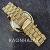 Raonhazae Hi Hop Iced Lab Diamond Meek Mill Drake Blue Face 14K Gold Plated Watch with 12mm Cuban Link Bracelet Set - Raonhazae