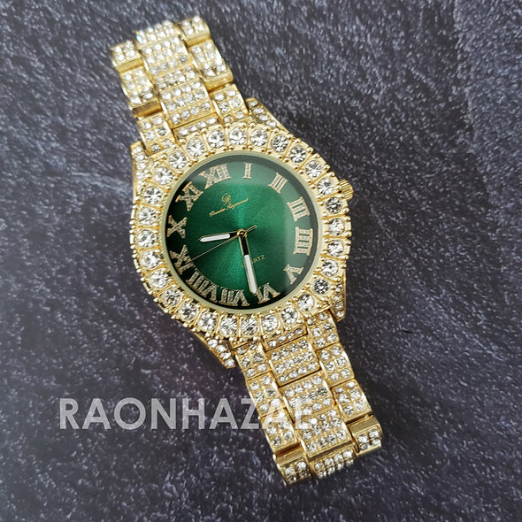 Raonhazae Hi Hop Iced Lab Diamond Meek Mill Drake Green Face 14K Gold Plated Watch with 12mm Cuban Link Bracelet Set - Raonhazae