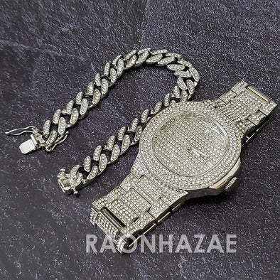 Silver Raonhazae Hip Hop Iced Lab Diamond Drake 14K White Gold Plated Watch with 12mm Cuban Link Bracelet Set - Raonhazae