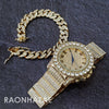 Raonhazae Hip Hop Iced Lab Diamond Drizzy Drake 14K Gold Plated Watch with 12mm Cuban Link Bracelet Set - Raonhazae