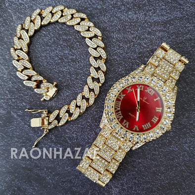 Raonhazae Silver Hip Hop Iced Lab Diamond Meek Mill Drake Blue / Red / Green Face 14K Gold Plated Watch with 12mm Cuban Link Bracelet Set - Raonhazae