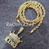MENS ICED GOLD THE MOB KING CROWN PENDANT 4mm ROPE / FRANCO CHAIN NECKLACE - Raonhazae