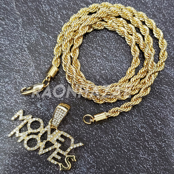 MENS ICED GOLD HUNCHO MONEY MOVES PENDANT 4mm ROPE / FRANCO CHAIN NECKLACE - Raonhazae