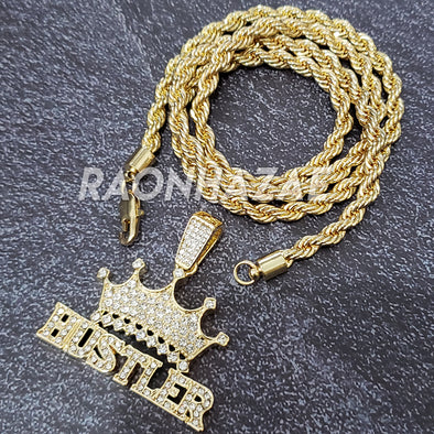 MENS ICED GOLD THE MOB KING HUSTLER PENDANT 4mm ROPE / FRANCO CHAIN NECKLACE - Raonhazae