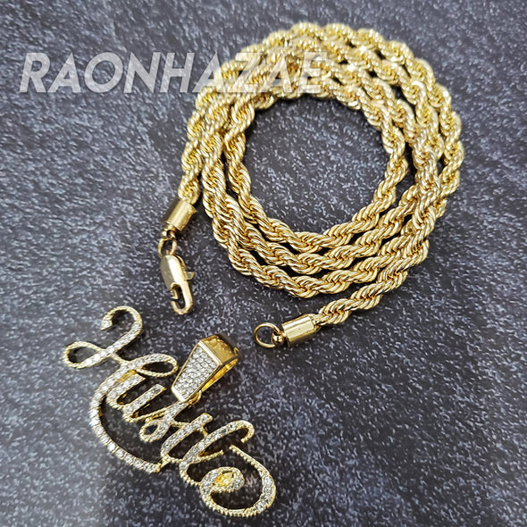 MENS ICED GOLD PLATED HUSTLE FOREVER PENDANT 4mm ROPE / FRANCO CHAIN - Raonhazae