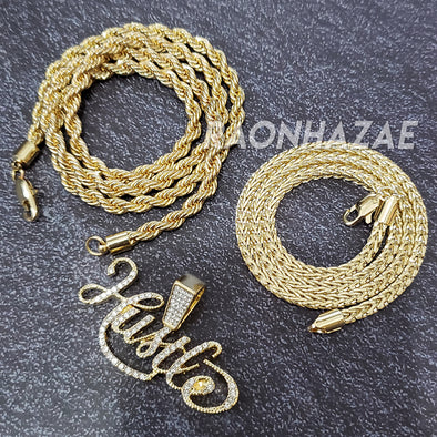 MENS ICED GOLD PLATED HUSTLE FOREVER PENDANT 4mm ROPE / FRANCO CHAIN