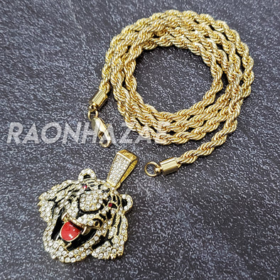 MENS ICED GOLD PLATED DRAKE TIGER BLING PENDANT 4mm ROPE / FRANCO CHAIN - Raonhazae