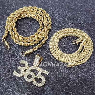 MENS ICED GOLD PLATED DRAKE TIGER BLING PENDANT 4mm ROPE / FRANCO CHAIN