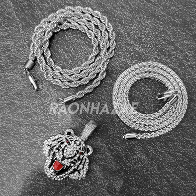 MENS ICED WHITE GOLD PLATED DRAKE LION BLING PENDANT 4mm ROPE / FRANCO CHAIN - Raonhazae