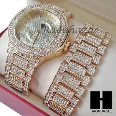 Rapper White Gold Finished Simulated Diamond Watch & Bracelet Set 27G - Raonhazae