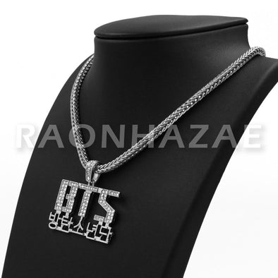 "K-pop BTS Bangtan Boys Army Korean Lettered Pendant w/4mm 18"" Franco Chain S - Raonhazae"