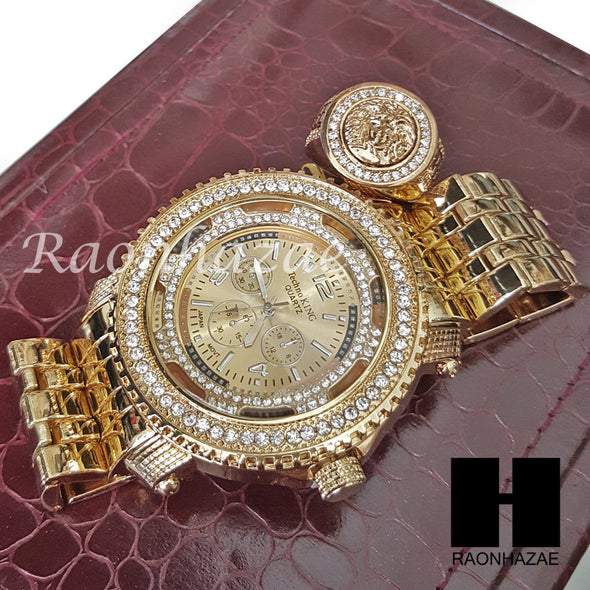 HIP HOP ICED SET LIL UZI RAPPER 14K GOLD WATCH MEDUSA RING SET L029 - Raonhazae