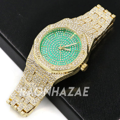 Raonhazae Men's Green/Gold Simulated Hip Hop Iced Bezel Lab Diamond Watch - G05 - Raonhazae