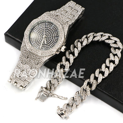 Hip Hop Iced Raonhazae Lab Diamond Drake Watch w/ 15mm Cuban Link Bracelet Set - Raonhazae