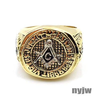 NEW HOT MENS YELLOW GOLD PT. FREEMASON MASONIC PYRAMID EYE OF HORUS RING KR001G - Raonhazae
