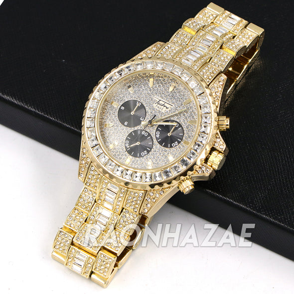Raonhazae  Gold Simulated Hip Hop Iced Bezel Lab Diamond Watch with Stone - G08 - Raonhazae
