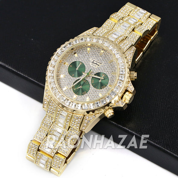 Iced Raonhazae Lab Diamond Drake 14K Gold /Green Plated Watch with Stone - Raonhazae