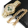 Hip Hop Iced Raonhazae Lab Diamond Drake Watch and 12mm Cuban Link Bracelet Set - Raonhazae