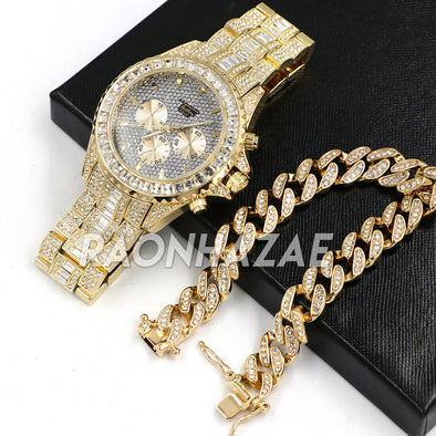 Hip Hop Iced Raonhazae Lab Diamond Watch and 12mm Cuban Link Bracelet Set - Raonhazae