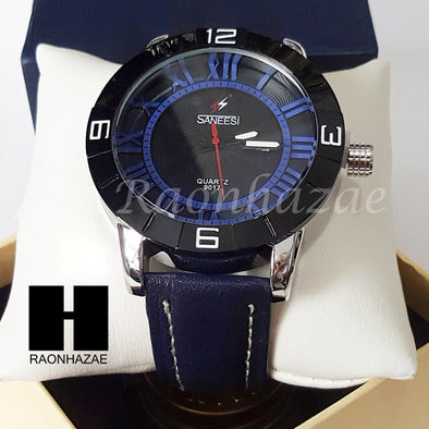 Mens Luxury LIL UZI VERT Wrist Fashion Navy Genuine Leather Black Watch BK227 - Raonhazae