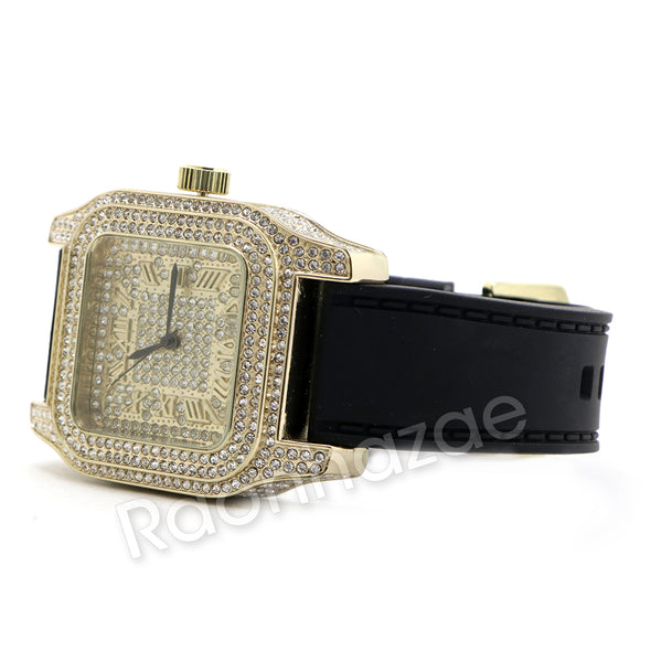 14K Gold PT Square Shape Black Band Watch F67G - Raonhazae