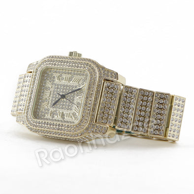 Hip Hop 14K Gold Simulated Diamond Watch F46 - Raonhazae