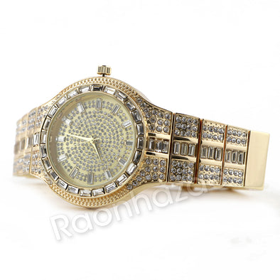 14K Gold Square Stone Bling Watch Set 51 - Raonhazae