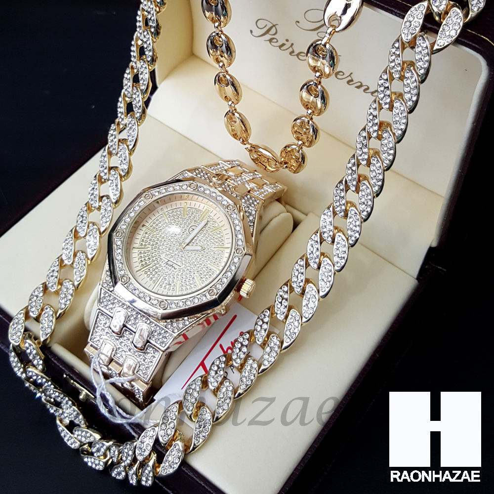 Iced Out Gold Finished Simulated Migos Watch Puffed Gucci Cuban Chain Raonhazae