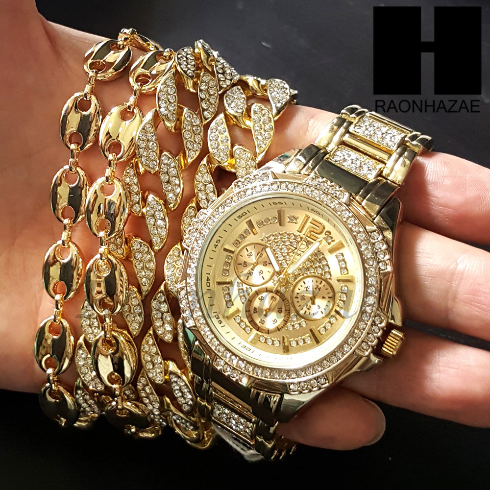Iced Out Gold Plated Chronograph Hip Hop Watch Puff Gucci 15mm Cuban C Raonhazae