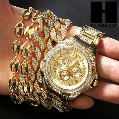 Gold Plated Chronograph Hip Hop Watch Puff Gucci 15mm Cuban Chain CW02 - Raonhazae