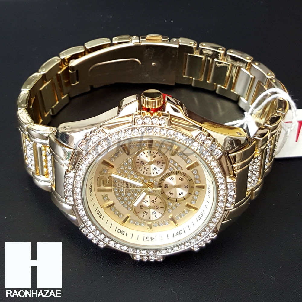cb66436cbe5 Iced Out Gold Plated Chronograph Hip Hop Watch Puff Gucci 15mm Cuban Chain  CW02