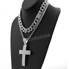 Hip Hop Quavo BIG CROSS Miami Cuban Choker Tennis Chain Necklace L12 - Raonhazae