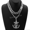 Hip Hop Quavo Anchor Crucifix Miami Cuban Choker Chain Necklace L56 - Raonhazae
